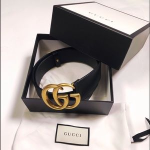💯% Authentic Gucci Black Double G Leather Belt
